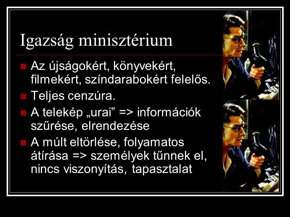 Igazság minisztérium Az újságokért, könyvekért, filmekért, színdarabokért felelős. Teljes cenzúra.