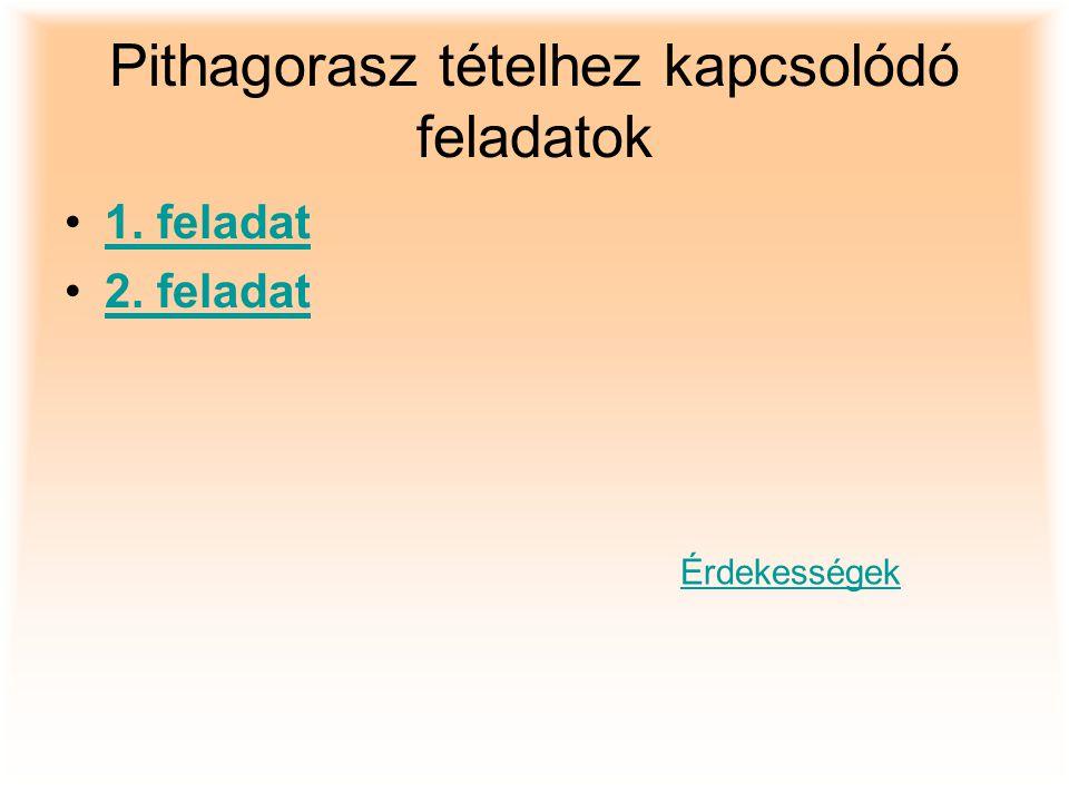 Pithagorasz tételhez kapcsolódó feladatok