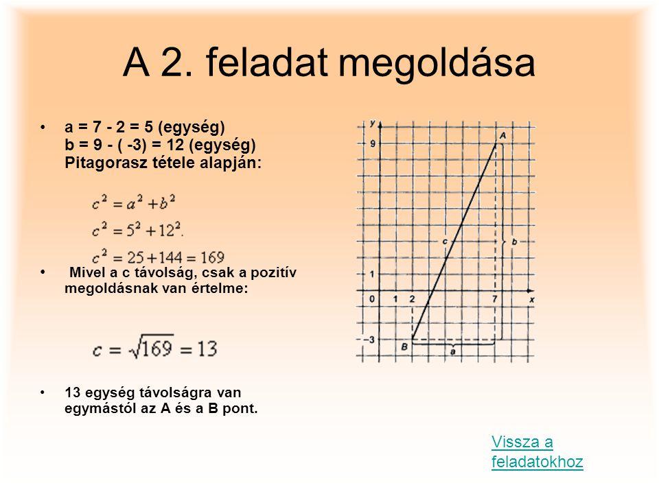 A 2. feladat megoldása a = 7 - 2 = 5 (egység) b = 9 - ( -3) = 12 (egység) Pitagorasz tétele alapján: