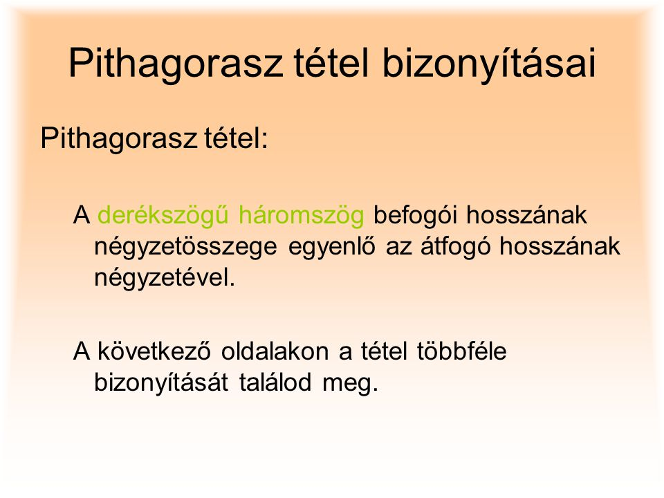 Pithagorasz tétel bizonyításai