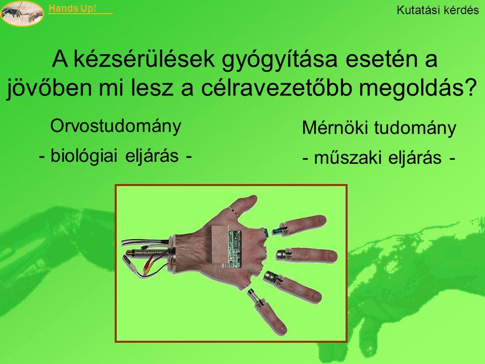 Kutatási kérdés A kézsérülések gyógyítása esetén a jövőben mi lesz a célravezetőbb megoldás Orvostudomány.
