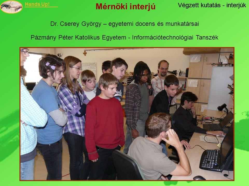 Mérnöki interjú Végzett kutatás - interjúk Végzett kutatás - interjúk