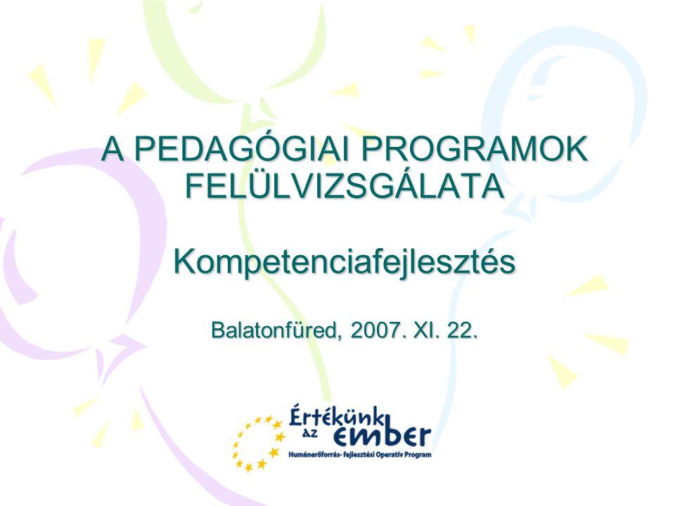 A PEDAGÓGIAI PROGRAMOK FELÜLVIZSGÁLATA Kompetenciafejlesztés Balatonfüred, 2007. XI. 22.