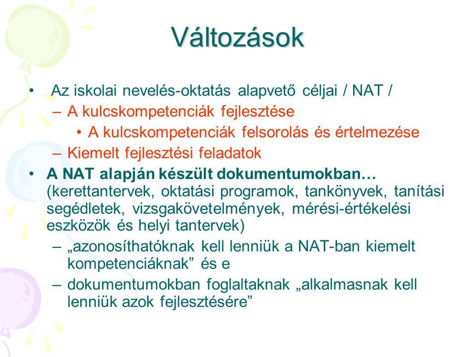 Változások Az iskolai nevelés-oktatás alapvető céljai / NAT /