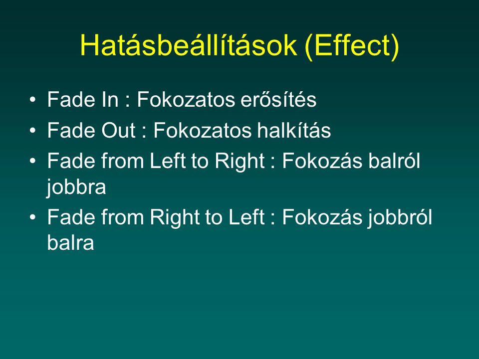 Hatásbeállítások (Effect)