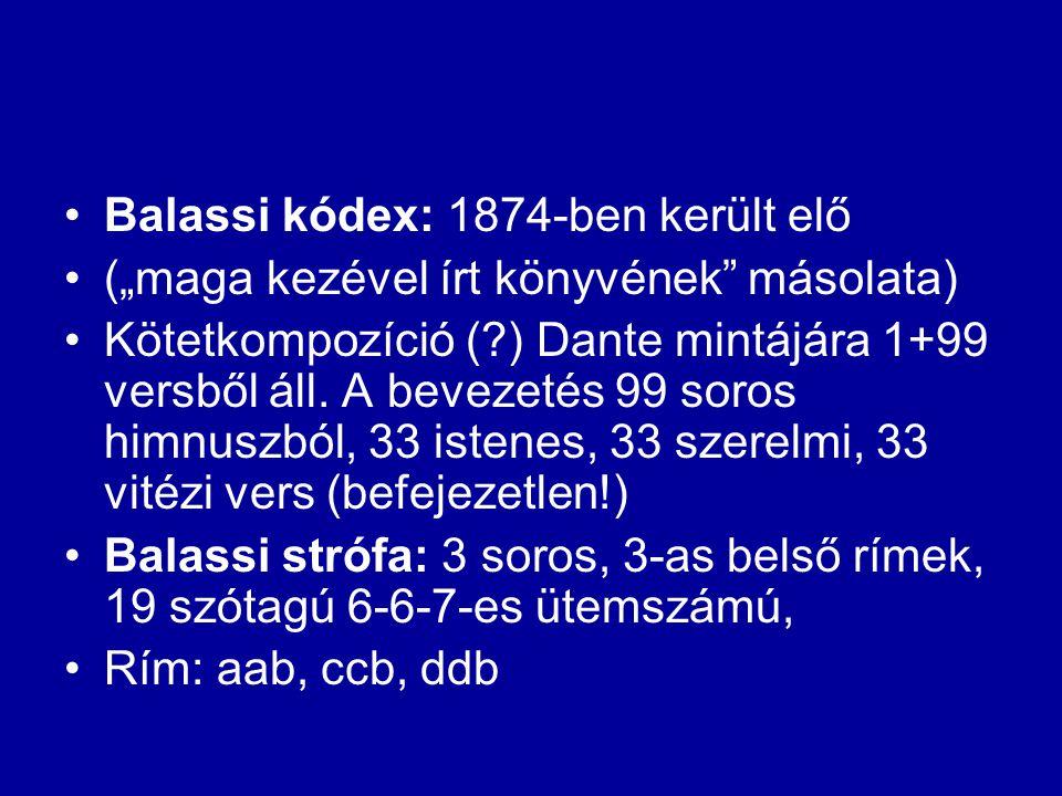 Balassi kódex: 1874-ben került elő
