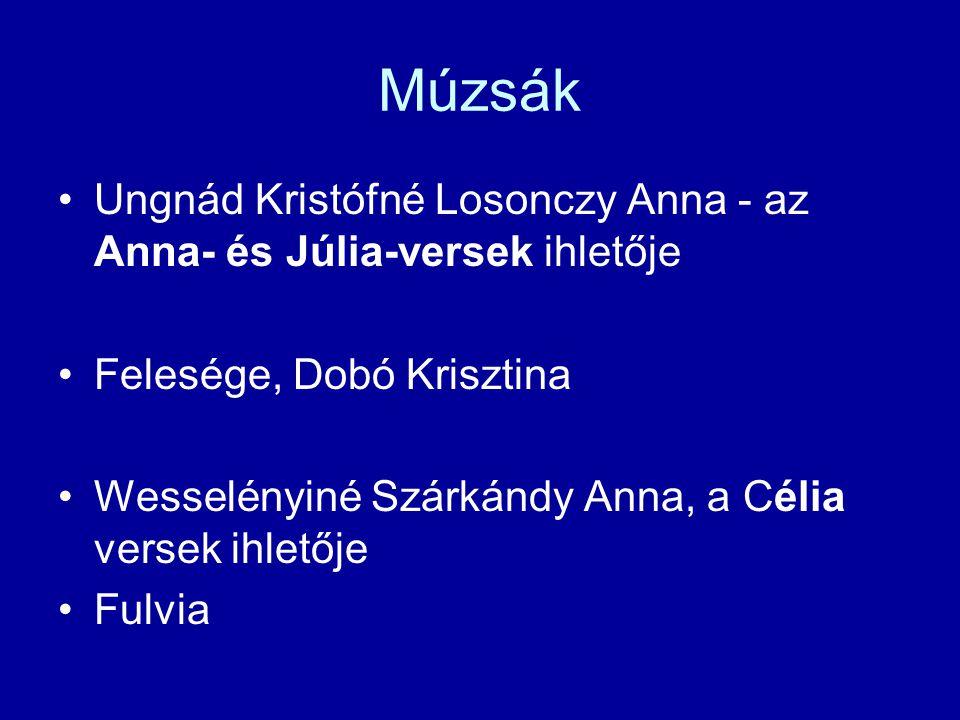 Múzsák Ungnád Kristófné Losonczy Anna - az Anna- és Júlia-versek ihletője. Felesége, Dobó Krisztina.