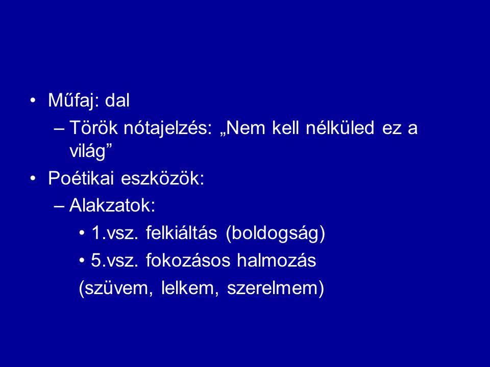 """Műfaj: dal Török nótajelzés: """"Nem kell nélküled ez a világ Poétikai eszközök: Alakzatok: 1.vsz. felkiáltás (boldogság)"""