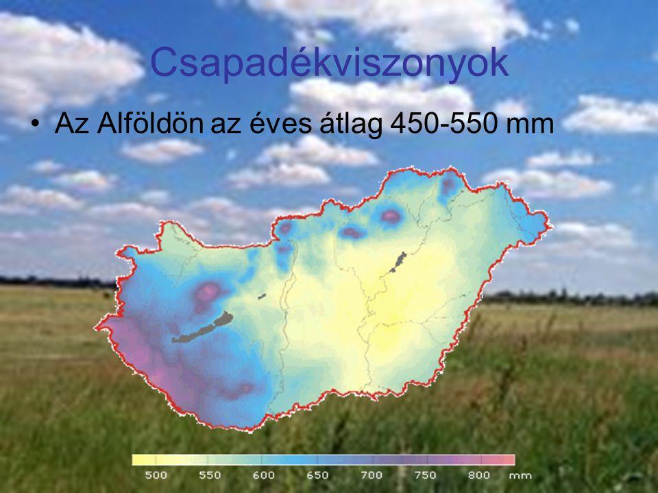 Csapadékviszonyok Az Alföldön az éves átlag 450-550 mm