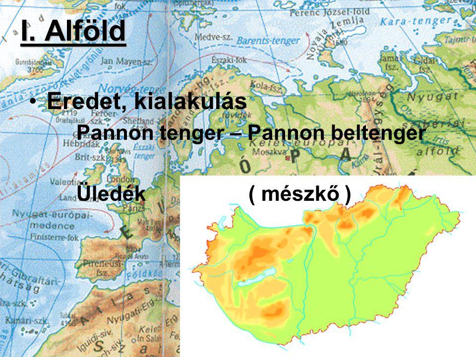 I. Alföld Eredet, kialakulás Pannon tenger – Pannon beltenger