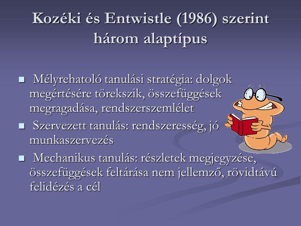 Kozéki és Entwistle (1986) szerint három alaptípus