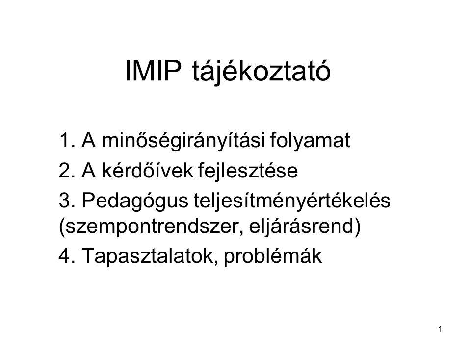 IMIP tájékoztató 1. A minőségirányítási folyamat