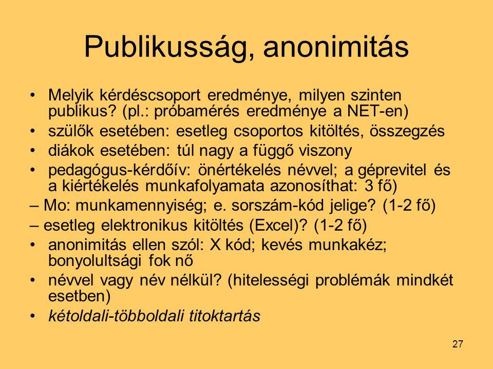 Publikusság, anonimitás