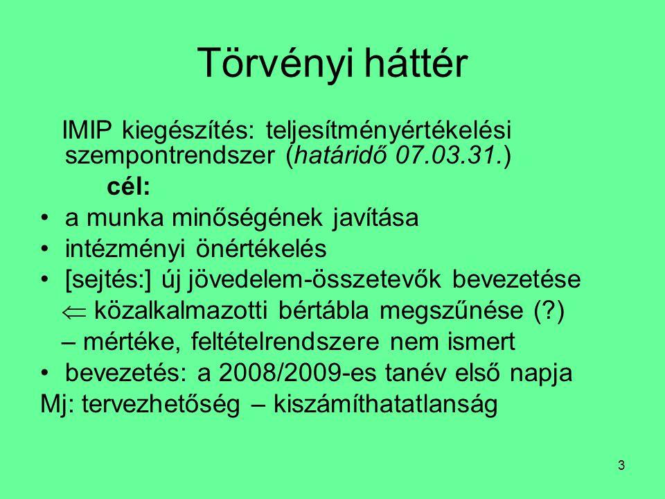 Törvényi háttér IMIP kiegészítés: teljesítményértékelési szempontrendszer (határidő 07.03.31.) cél:
