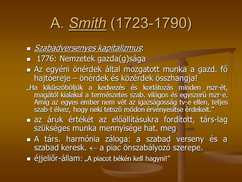 A. Smith (1723-1790) Szabadversenyes kapitalizmus: