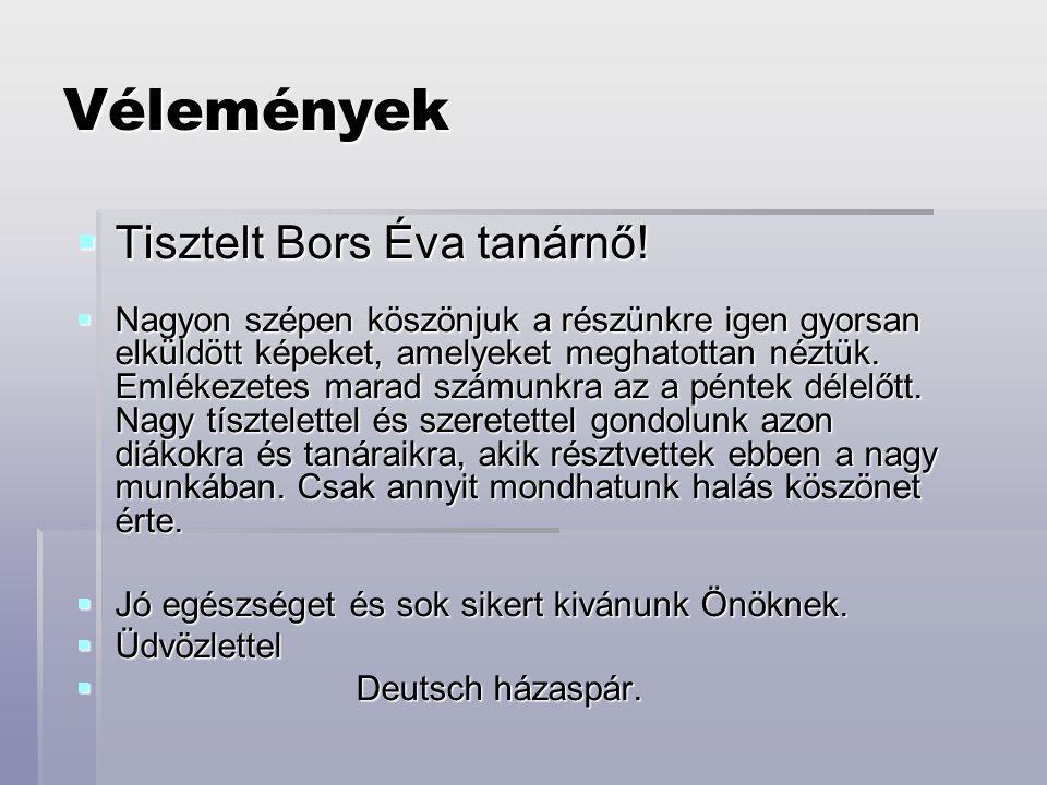 Vélemények Tisztelt Bors Éva tanárnő!