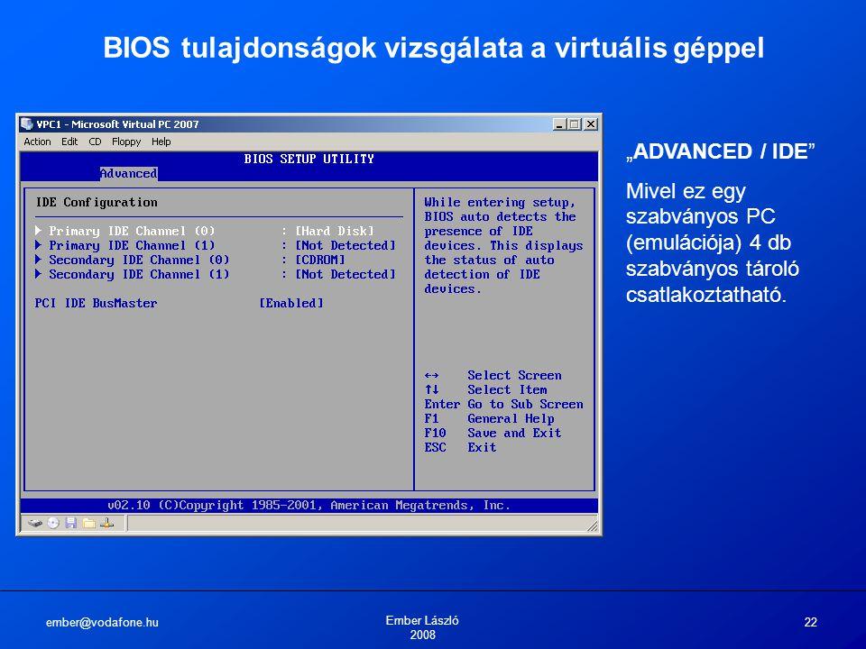 BIOS tulajdonságok vizsgálata a virtuális géppel