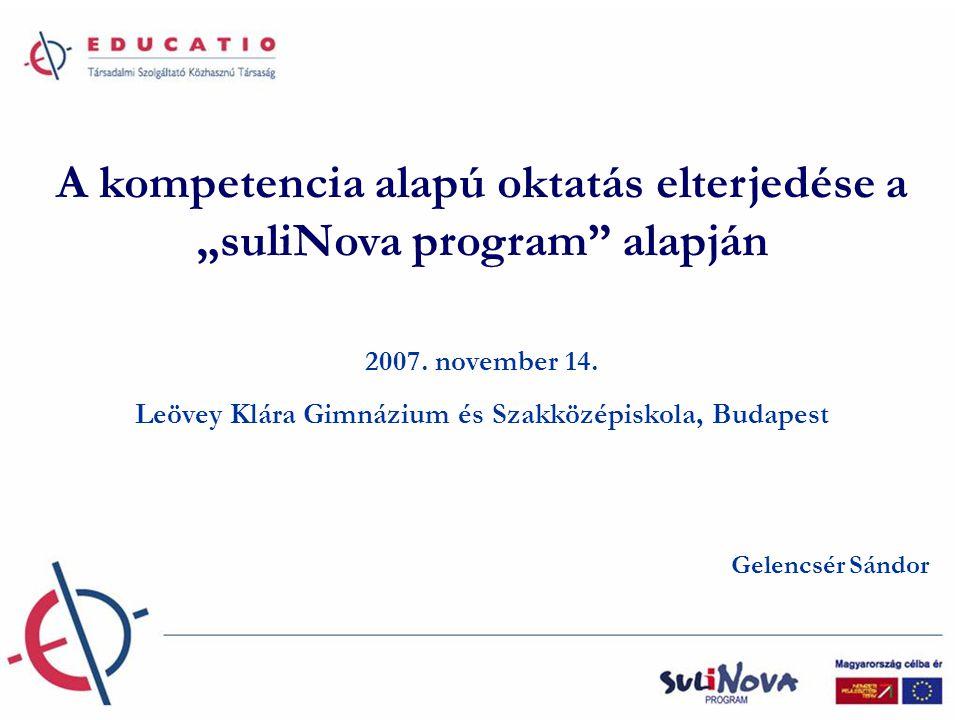 """A kompetencia alapú oktatás elterjedése a """"suliNova program alapján"""