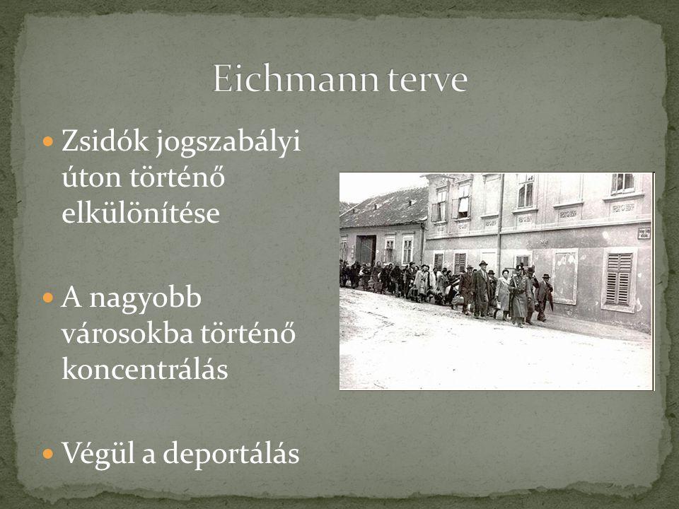 Eichmann terve Zsidók jogszabályi úton történő elkülönítése