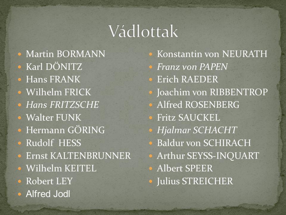 Vádlottak Martin BORMANN Karl DÖNITZ Hans FRANK Wilhelm FRICK