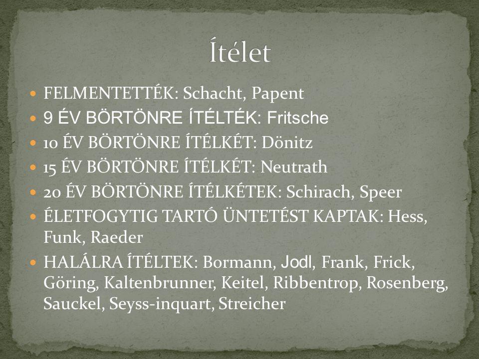 Ítélet FELMENTETTÉK: Schacht, Papent 9 ÉV BÖRTÖNRE ÍTÉLTÉK: Fritsche