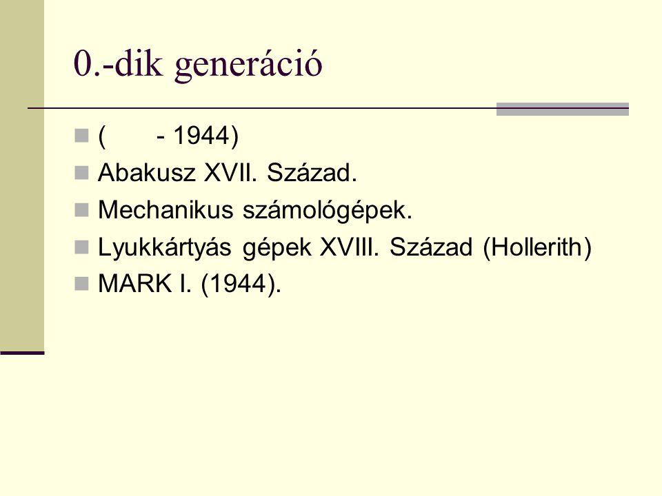 0.-dik generáció ( - 1944) Abakusz XVII. Század.