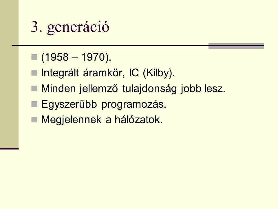 3. generáció (1958 – 1970). Integrált áramkör, IC (Kilby).