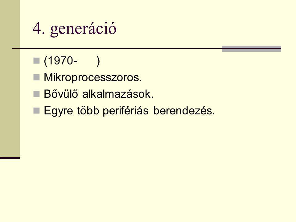4. generáció (1970- ) Mikroprocesszoros. Bővülő alkalmazások.