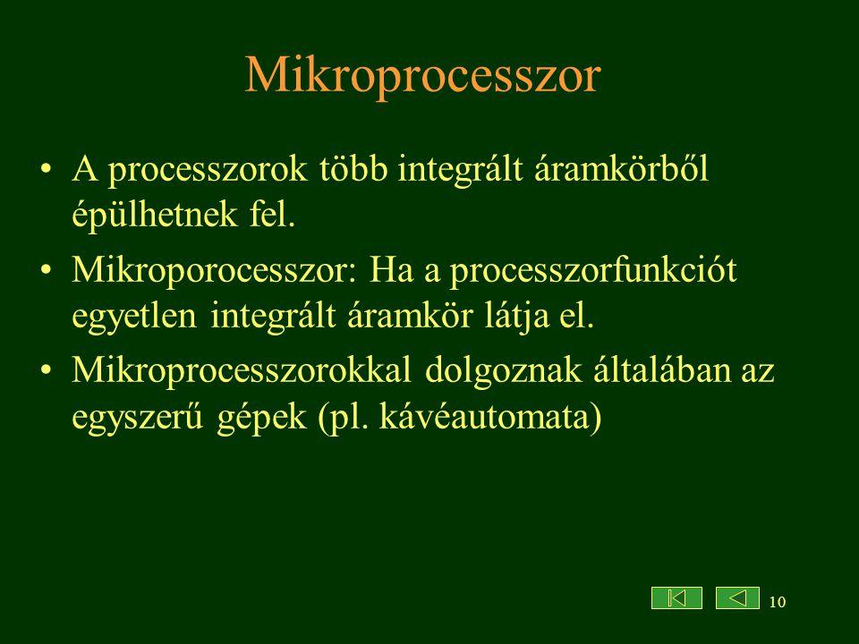 Mikroprocesszor A processzorok több integrált áramkörből épülhetnek fel.