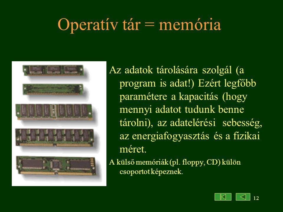 Operatív tár = memória
