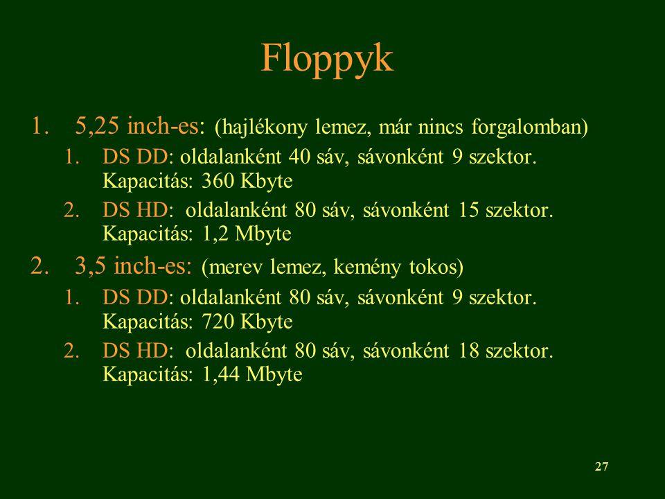 Floppyk 5,25 inch-es: (hajlékony lemez, már nincs forgalomban)