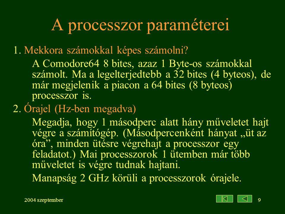 A processzor paraméterei