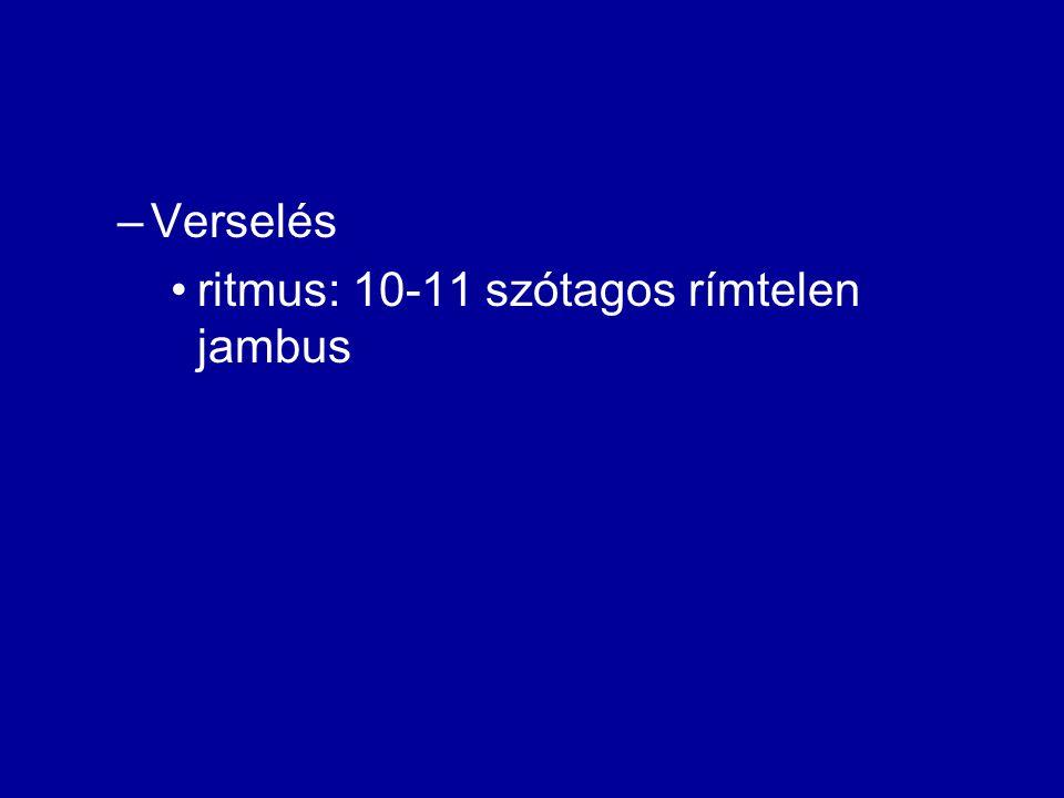 Verselés ritmus: 10-11 szótagos rímtelen jambus