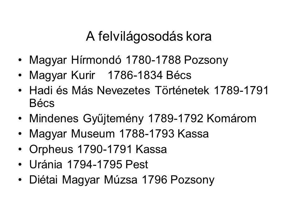 A felvilágosodás kora Magyar Hírmondó 1780-1788 Pozsony