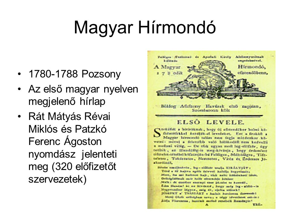 Magyar Hírmondó 1780-1788 Pozsony