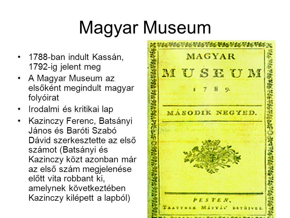 Magyar Museum 1788-ban indult Kassán, 1792-ig jelent meg