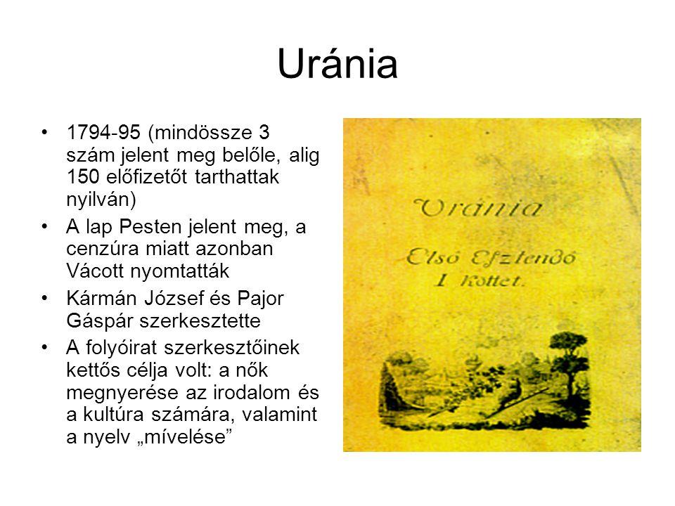 Uránia 1794-95 (mindössze 3 szám jelent meg belőle, alig 150 előfizetőt tarthattak nyilván)