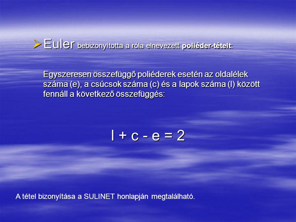 l + c - e = 2 Euler bebizonyította a róla elnevezett poliéder-tételt: