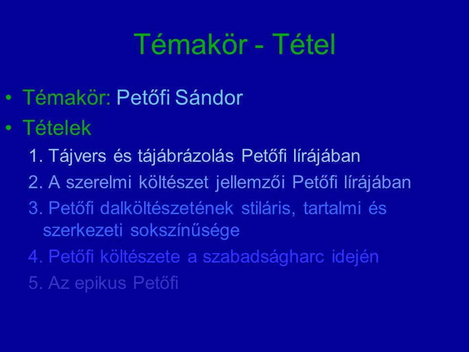 Témakör - Tétel Témakör: Petőfi Sándor Tételek