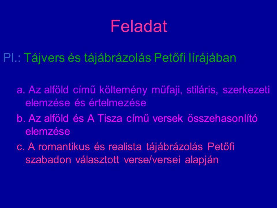 Feladat Pl.: Tájvers és tájábrázolás Petőfi lírájában