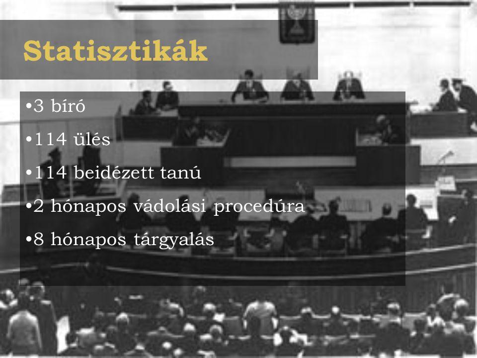 Statisztikák 3 bíró 114 ülés 114 beidézett tanú