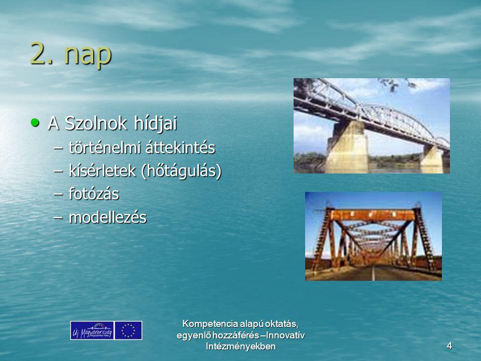 2. nap A Szolnok hídjai történelmi áttekintés kísérletek (hőtágulás)