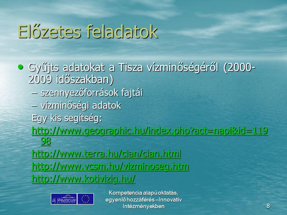 Előzetes feladatok Gyűjts adatokat a Tisza vízminőségéről (2000-2009 időszakban) szennyezőforrások fajtái.