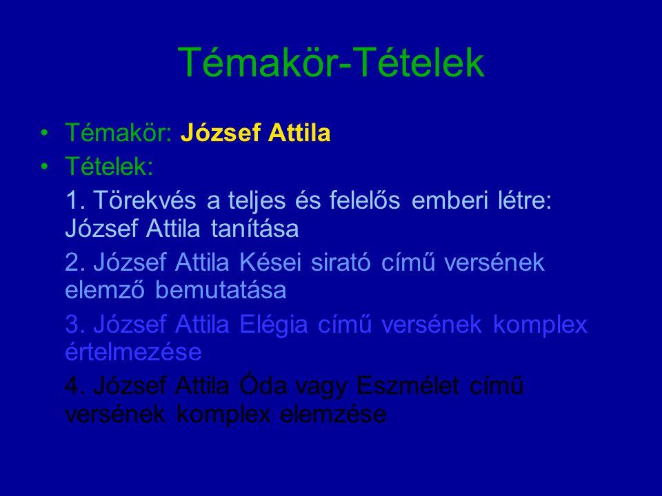 Témakör-Tételek Témakör: József Attila Tételek: