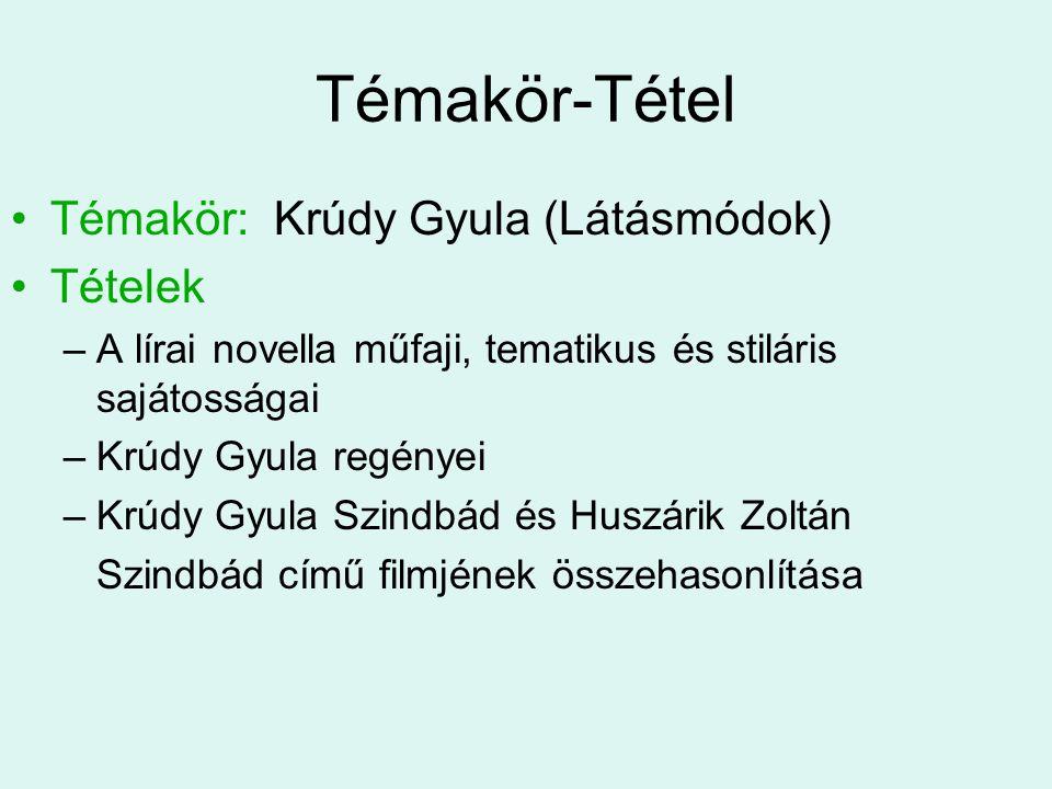 Témakör-Tétel Témakör: Krúdy Gyula (Látásmódok) Tételek