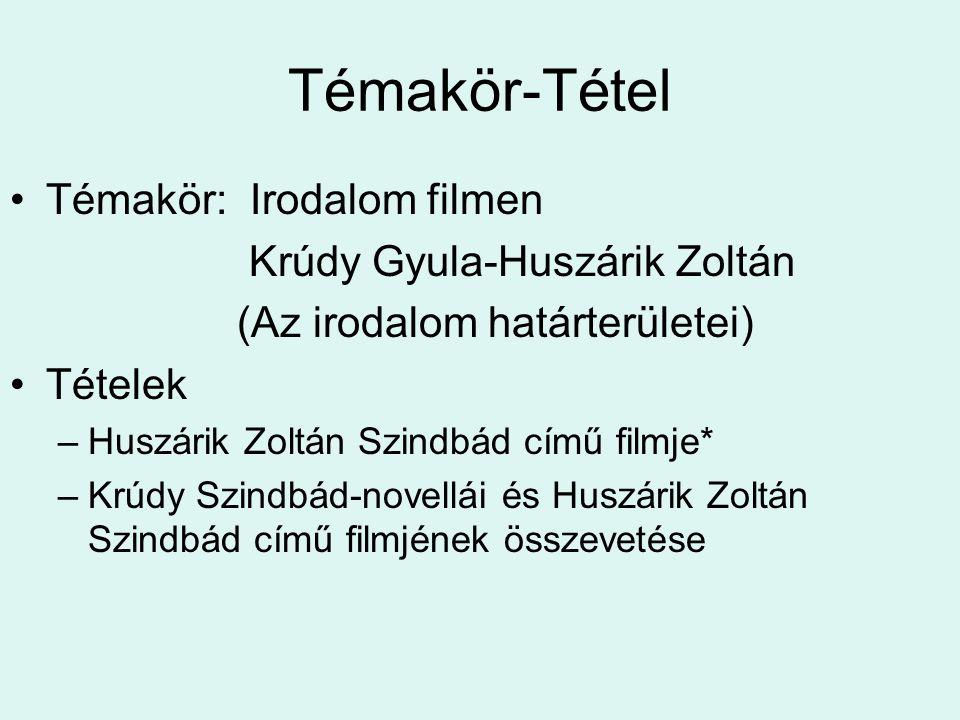 Témakör-Tétel Témakör: Irodalom filmen Krúdy Gyula-Huszárik Zoltán