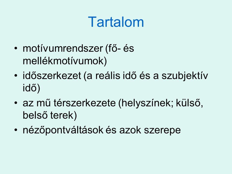Tartalom motívumrendszer (fő- és mellékmotívumok)