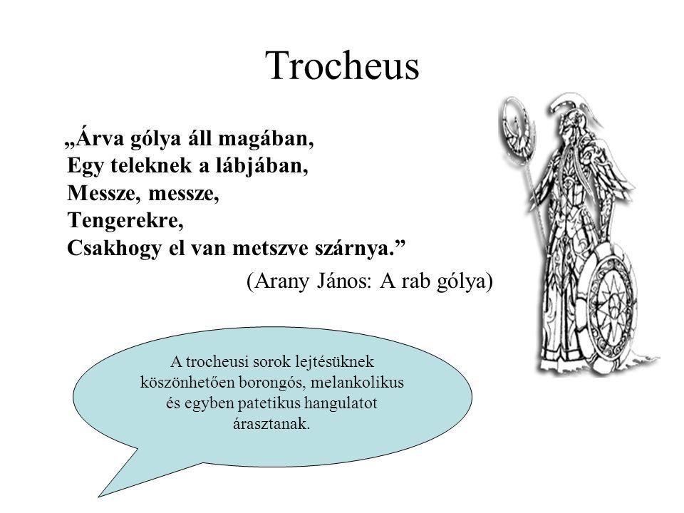 """Trocheus """"Árva gólya áll magában, Egy teleknek a lábjában, Messze, messze, Tengerekre, Csakhogy el van metszve szárnya."""