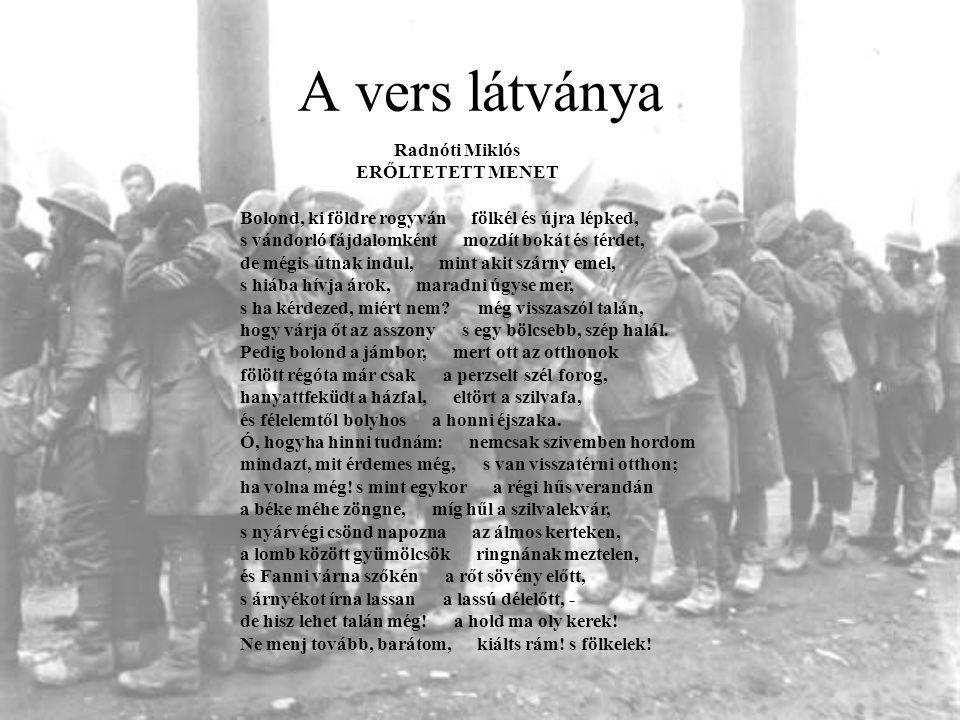 A vers látványa Radnóti Miklós. ERŐLTETETT MENET.