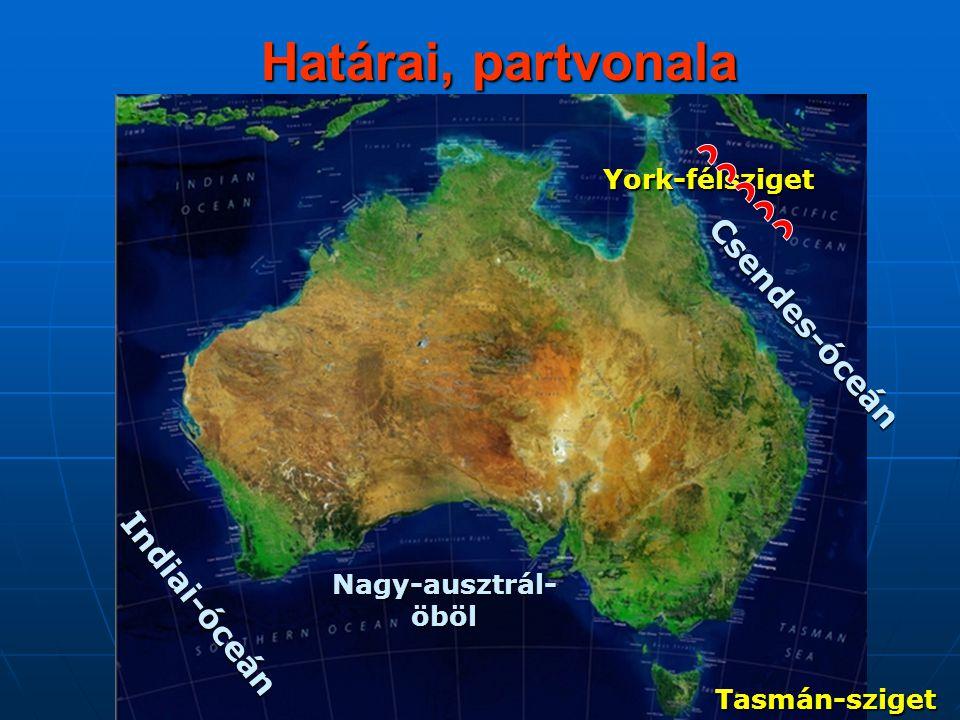 Határai, partvonala Csendes-óceán Indiai-óceán York-félsziget